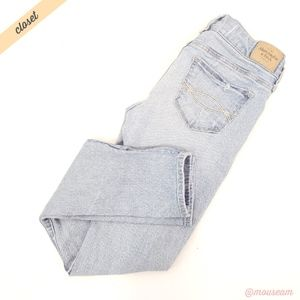 [A&F] Light Wash Distressed Skinny Jeans